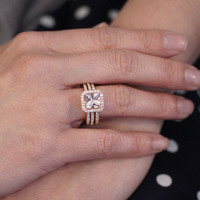 Princess Cut Morganite Engagement Ring Bridal Set