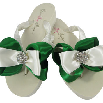 Rose Rhinestone with Emerald Bow Flip Flops