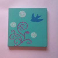 Blue bird original acrylic canvas painting for baby nursery, tween, teen room