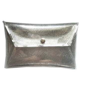 Silver clutch glitter handbag sparkle purse glitter envelope bag security bag sparkle bag silver bag metalic hanbags party elegant bag vinyl