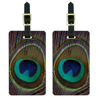 Peacock Feather Luggage Tag Set