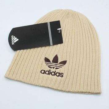 Adidas Autumn Winter Classic Popular Women Men Embroidery Knit Hat Warm Cap Khaki