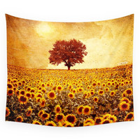 Society6 Lone Tree & Sunflowers Field Wall Tapestry