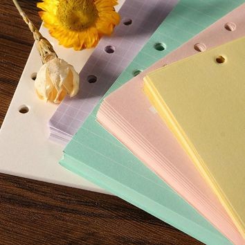Kicute 40 sheets Refills Spiral A5 Notebook Inner Pages 6 holes Loose Leaf Binder Paper Planner Filler Paper School Supply