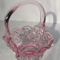 Pink Glass Basket Moons Stars LE Smith