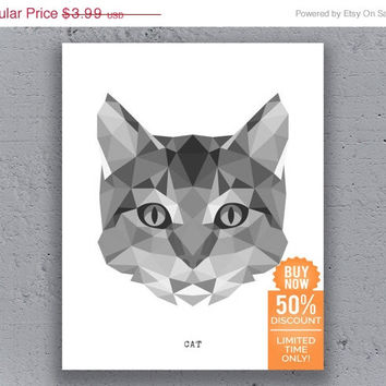 Cat Print Printable Poster Geometric Typography Print Black White Polygon Animal Art Retro Art Print Instant Download Digital Print
