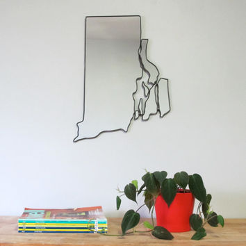 SALE / Rhode Island Mirror / Wall Mirror State Outline Silhouette