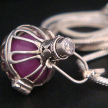Harmony Ball Bola Necklace with a Purple Chime Ball in a 925 Sterling Silver Cage with a Brilliant CZ. Pregnancy Gift idea, Angel Caller 239