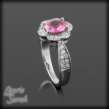 Pink Sapphire Engagement Ring with Diamond Flower Halo - LS469