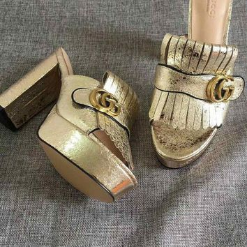 DCCK GUCCI Gold Women Fashion Casual Double GG solid buckle slippers Sandals Shoes