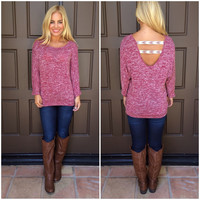 Right Direction Knit Top - BURGUNDY