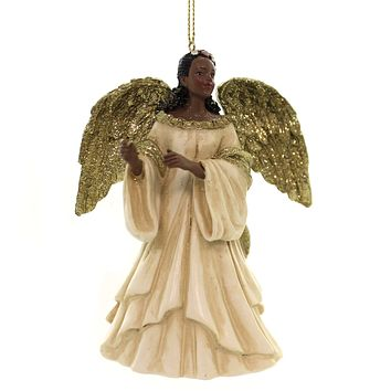 Holiday Ornaments BLACK ANGEL IN GOLD/IVORY DRESS African American C7607 B