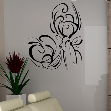Vinyl Wall Decal Sticker Deer Swirls #5319