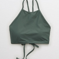 Aerie High Neck Bikini Top, Green