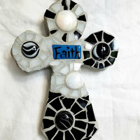 primitive mosaic black and white cross - ceramic base - glass mosaic - faith - reversible cross - wallhanging cross