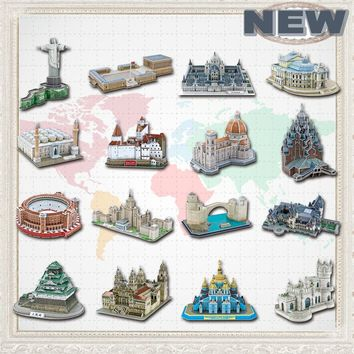 Promotion Newest Famous Architecture Model 3D Jigsaw Puzzles For Adults Paper  Educational Toys For Children learning education