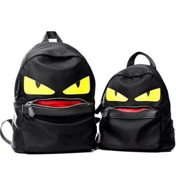 Demon Big Eyes Small Monster Fashion Backpack Monster Teenagers Girls Boys Nylon School Bags Cartoon Couple Bag Mochila Escolar