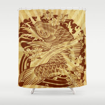 cool unique vintage japanese tattoo koi fish sun rays vector art Shower Curtain by Chicelegantboutique