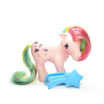 Parasol Rainbow Pony Vintage G1 My Little Pony with Glitter Cutie Mark, Blue Comb & Brush