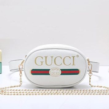 Gucci Women Fashion Leather Chain Waist Pack Satchel Shoulder Bag Crossbody