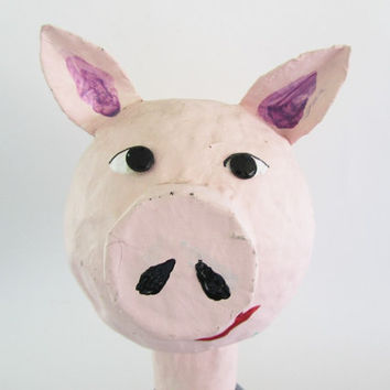 Pig - Paper Mache - Animal Head - Sculpture