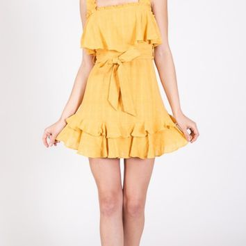 Sleeveless Ruffle Tie Waist Dress - Mustard