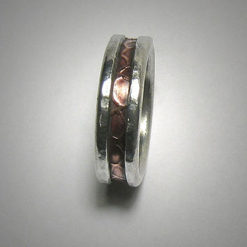 Rustic wedding band for men or women - custom handmade mixed metal men's engagement ring - copper and silver wedding band for men