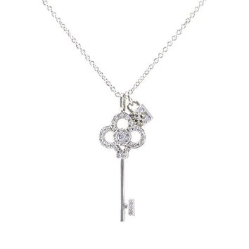 Omorose  Vintage Key and Lock Pendant Necklace