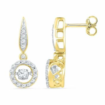 10kt Yellow Gold Women's Round Diamond Circle Frame Moving Twinkle Solitaire Dangle Earrings 5-8 Cttw - FREE Shipping (USA/CAN)