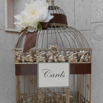 Card Box / Champagne Gold Birdcage Wedding Cardholder