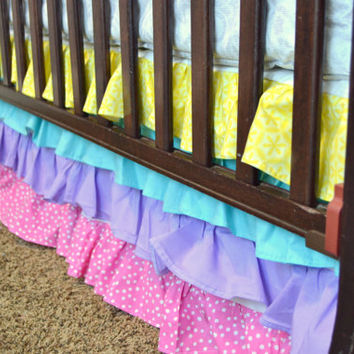 Custom Ruffled Crib Skirt, Spring Colors, Hot Pink, Turquoise, Yellow, and Purple, You Design, Made to Order, Dust Ruffle