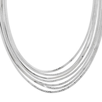Leslies Sterling Silver Herringbone 7 Strand Necklace QLF466