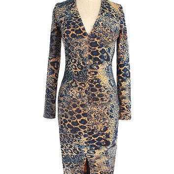 Leopard Print Split Deep-V Knee-Length Bodycon Dress