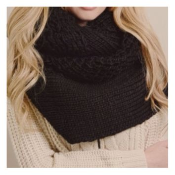 Extra Large Thick Chunky Knit Black Infinity Scarf
