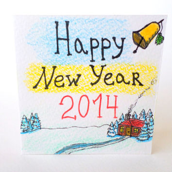 Happy New Year card 2014, Handmade greeting card for Happy New Year 2014 ,Cottage house hand-drawn original card for New Year 2014