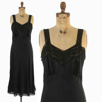 Vintage 40s Black SILK Slip / 1940s Fischer Heavenly Lingerie Bias Cut Nightgown M