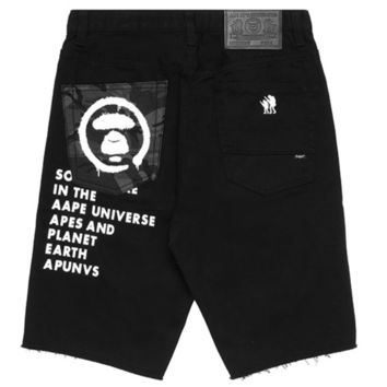 AAPE men's spring and summer letter printing personality raw edge hole casual denim shorts F-YF-MLBKS black