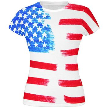 4th of July Color Me American All Over Juniors T Shirt