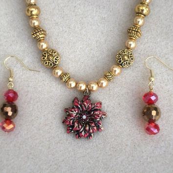 Merry Red-Christmas-Jewelry Set- 2 Piece Handmade Ladies Necklace & Earrings-Handcrafted- Glass Beadwork- Trending- Gifts for Her- Treasury