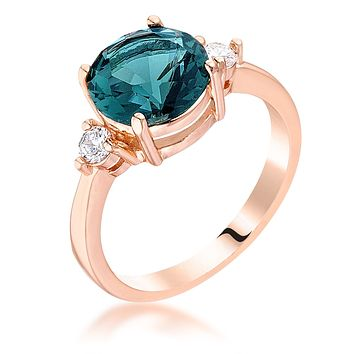Rose Gold Plated Blue Green Three Stone Engagement Ring