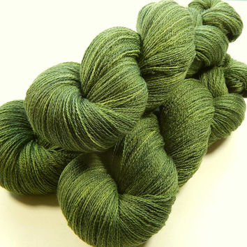 Hand Dyed Yarn - Lace Weight Silk / Merino Wool Yarn - Moss Tonal - Knitting Yarn, Lace Yarn, Lace Weight Yarn, Wool Silk Yarn, Olive Green