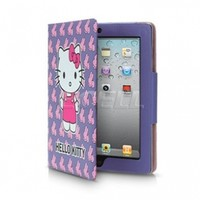 Ecell - PURPLE HELLO KITTY LEATHER CASE & STAND FOR iPAD 2