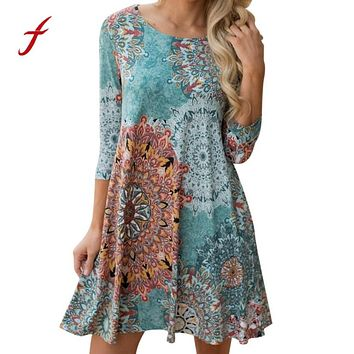 Feitong Vintage Boho Womens Causal Dress Long Sleeve Printed Evening Party Beach Floral Party Mini Dress vestidos femininos robe