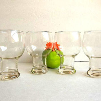 Funky Retro Vintage FOUR beer glasses set, hollow stem drinking glasses, water glasses, pedestal, Mid Century Mad Men bar ware barware