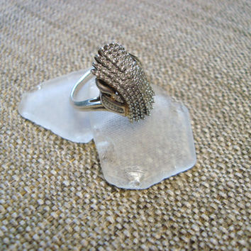 unique sterling silver genuine diamond cocktail ring, size 7