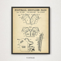 Football Shoulder Pads Patent Print, Digital Download, Football Printables, Game Room Wall Art, Patent Poster, Football Gifts