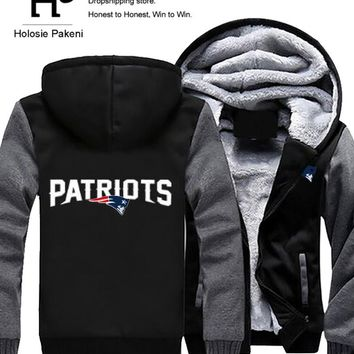 Men Women Unisex Patriots Hoodies Zipper Sweatshirts Jacket Winter Warmth Thicken Fleece Hooded Coat
