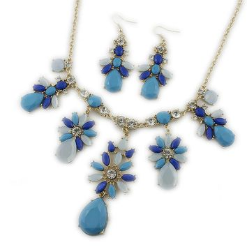 Special offer Europe and America Jewelry Blue Gemstone Flower Necklace Women Full Diamond Earrings Set Jewelry Accessories IT