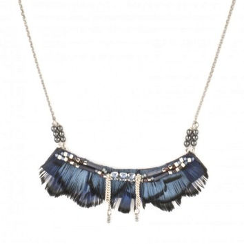 Indian Amazon Blue Feather Necklace by Satellite Paris