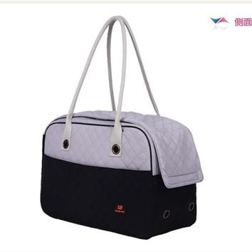 Fashion Collection Style 2 Tone Quilted Soft Sided Travel Dog and Cat Pet Carrier Tote Hand Bag Pet Cat Dog Hiking Backpack PA10